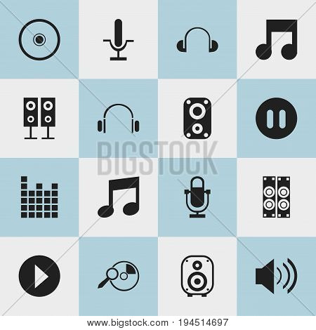 Set Of 16 Editable Song Icons. Includes Symbols Such As Melody Seeking, Headsets, Phonogram And More. Can Be Used For Web, Mobile, UI And Infographic Design.