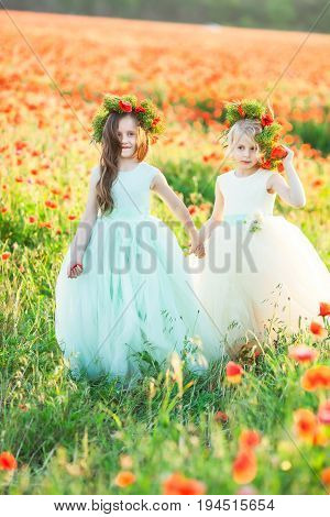 friendship, family, relationships, freedom concept - the elder girl with beautiful flowing hair and floral wreath on head leading her cousin in white dress by her hand in the poppy field