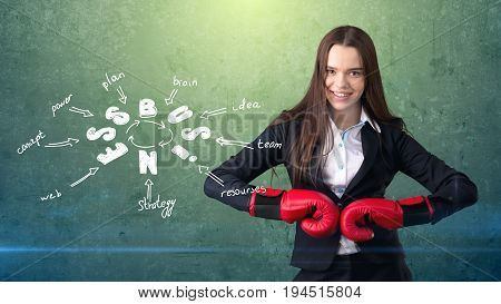 Woman In Red Boxing Gloves Standing Near Wall With A Business Idea Sketch Drawn On It. Concept Of A