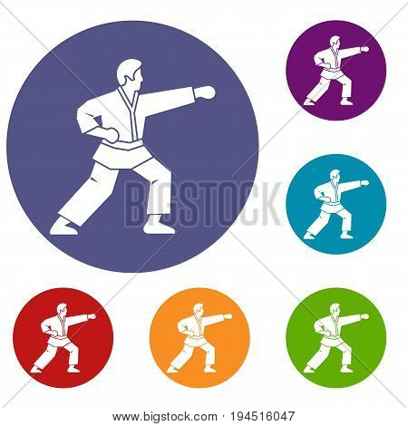 Aikido fighter icons set in flat circle reb, blue and green color for web