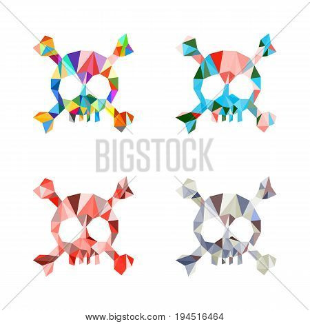 Triangle polygonal multicolored skull and bones. Set. Template. Vector illustration. Light background. Eps10.