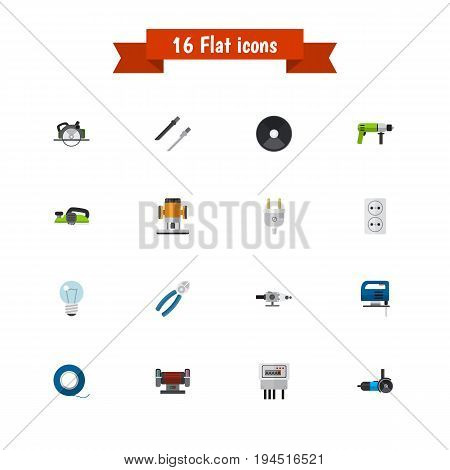 Set Of 16 Editable Electrical Icons. Includes Symbols Such As Fretsaw, Adhesive, Grinder And More. Can Be Used For Web, Mobile, UI And Infographic Design.