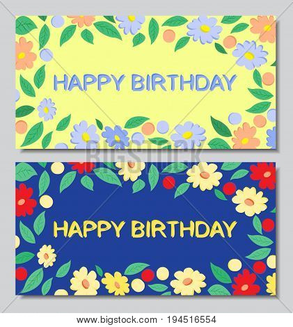 Postcards happy birthday, flowers, blue and yellow background, EPS10