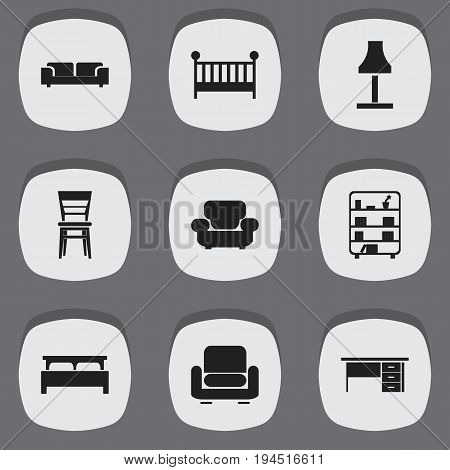 Set Of 9 Editable Interior Icons. Includes Symbols Such As Sofa, Glim, Recliner And More. Can Be Used For Web, Mobile, UI And Infographic Design.