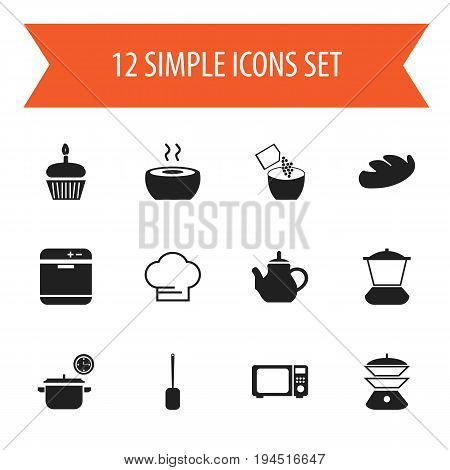 Set Of 12 Editable Cook Icons. Includes Symbols Such As Teapot, Cooking Cap, Muffin And More. Can Be Used For Web, Mobile, UI And Infographic Design.