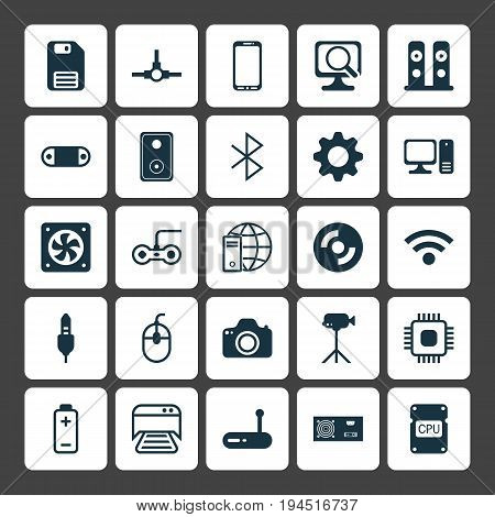 Hardware Icons Set. Collection Of Battery, Chip, Camcorder And Other Elements. Also Includes Symbols Such As Wifi, Audio, Cable.
