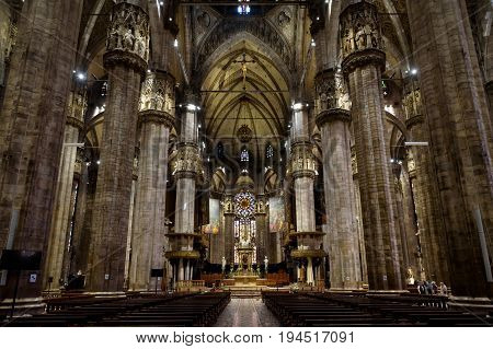 Milan, Italy - May 16, 2017: Interior of the Milan Cathedral (Duomo di Milano). Milan D..uomo is the largest church in Italy and the fifth largest in the world.