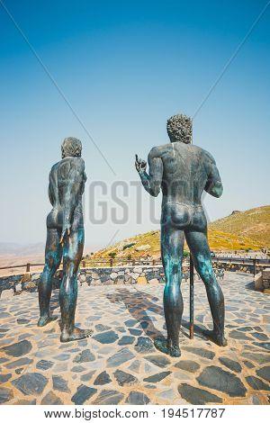 Fuerteventura, Spain, April 01, 2017: The Statues At Mirador Corrales De Guize Were Created By Emili