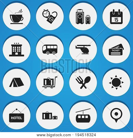 Set Of 16 Editable Travel Icons. Includes Symbols Such As Motorbus, Solar, Cableway And More. Can Be Used For Web, Mobile, UI And Infographic Design.