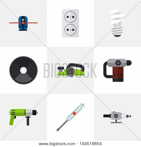 Set Of 9 Editable Electrical Icons. Includes Symbols Such As Grinder, Blowpipe, Jointer And More. Can Be Used For Web, Mobile, UI And Infographic Design.
