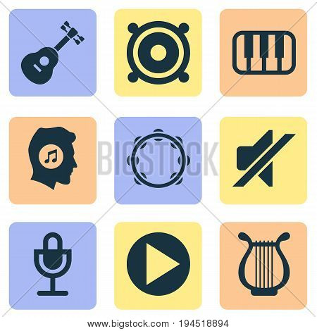 Audio Icons Set. Collection Of Timbrel, Instrument, Lyre And Other Elements. Also Includes Symbols Such As Lyre, Megaphone, Piano.