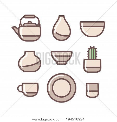 Ceramic crockery collection set. Simple and modern pottery icons vector illustration. poster
