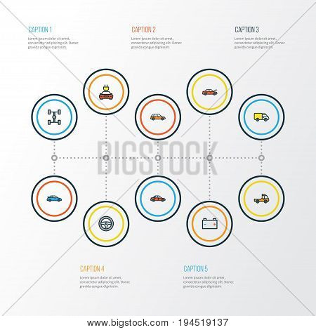 Auto Colorful Outline Icons Set. Collection Of Machine, Bonnet, Electric And Other Elements. Also Includes Symbols Such As Auto, Hood, Mover.