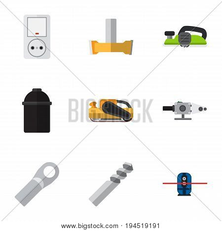 Set Of 9 Editable Instruments Icons. Includes Symbols Such As Holder, Sandblast, Auger. Can Be Used For Web, Mobile, UI And Infographic Design.