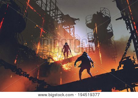 sci-fi scene showing fight of two futuristic warriors in industrial factory, digital art style, illustration painting