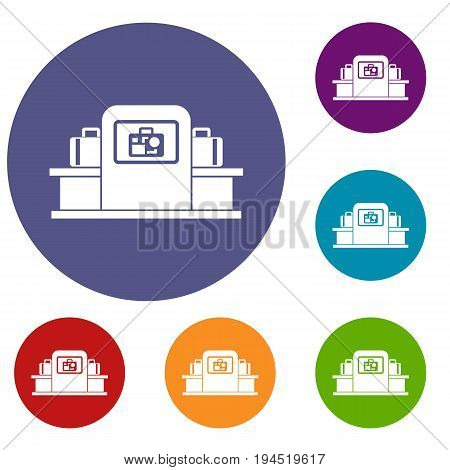 Airport baggage security scanner icons set in flat circle reb, blue and green color for web