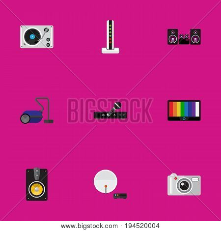 Set Of 9 Editable Technology Icons. Includes Symbols Such As Sweeper, Camera, Turntable And More. Can Be Used For Web, Mobile, UI And Infographic Design.