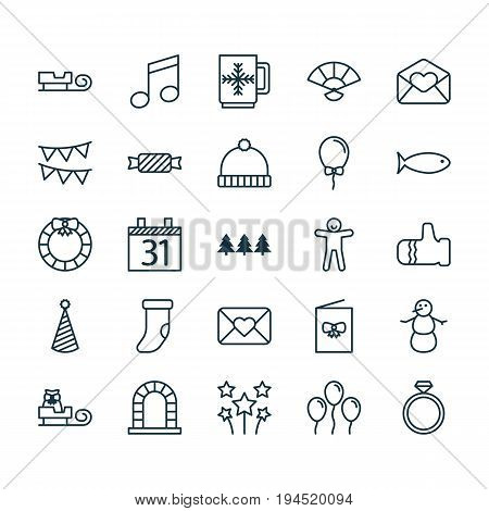 New Icons Set. Collection Of Garland , Wedding Jewel, Celebration Card Elements. Also Includes Symbols Such As Note, Candy, Food.