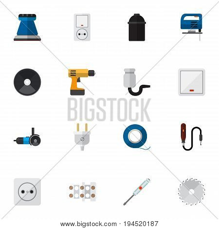 Set Of 16 Editable Electric Icons. Includes Symbols Such As Screwdriver, Jig Saw, Emery Paper And More. Can Be Used For Web, Mobile, UI And Infographic Design.