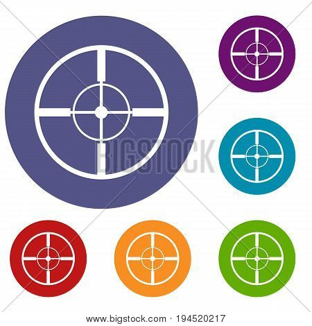 Aim icons set in flat circle reb, blue and green color for web