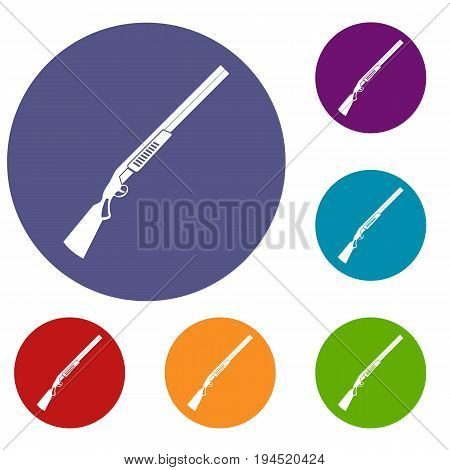 Gun icons set in flat circle reb, blue and green color for web