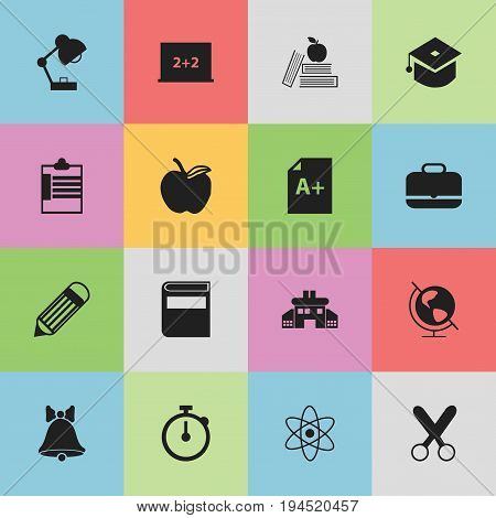 Set Of 16 Editable Knowledge Icons. Includes Symbols Such As Supervision List, Timer, Cutting And More. Can Be Used For Web, Mobile, UI And Infographic Design.