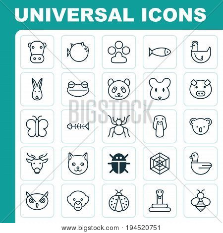 Zoo Icons Set. Collection Of Night Fowl, Hen, Bumblebee And Other Elements. Also Includes Symbols Such As Piggy, Print, Reptile.