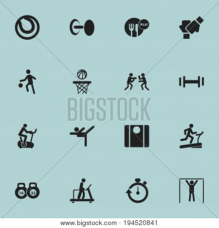 Set Of 16 Editable Training Icons. Includes Symbols Such As Racetrack Training, Basketball, Heft And More. Can Be Used For Web, Mobile, UI And Infographic Design.