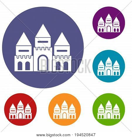 Children house castle icons set in flat circle reb, blue and green color for web