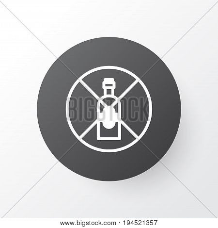 Alcohol Forbid Icon Symbol. Premium Quality Isolated No Drinking Element In Trendy Style.