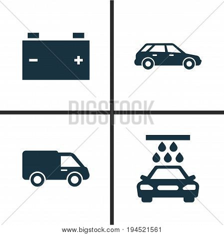 Auto Icons Set. Collection Of Transport Cleaning, Hatchback, Accumulator And Other Elements. Also Includes Symbols Such As Station, Van, Auto.