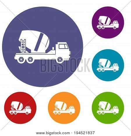 Concrete mixer truck icons set in flat circle reb, blue and green color for web