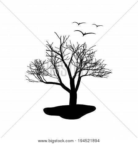 Lonely tree and a flock of birds. Black and white illustration. Vector illustration