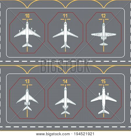 Seamless pattern with airplanes on the terminal apron. Can be used for graphic design, textile design or web design.