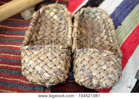 Old Bast Shoes (traditional Russian Footwear)