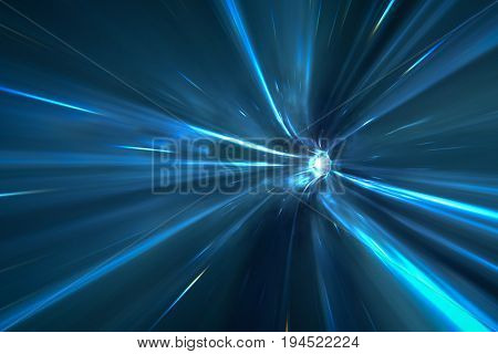 3d rendering of a warp tunnel in space