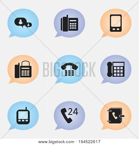 Set Of 9 Editable Device Icons. Includes Symbols Such As Transceiver, Office Telephone, Call And More. Can Be Used For Web, Mobile, UI And Infographic Design.
