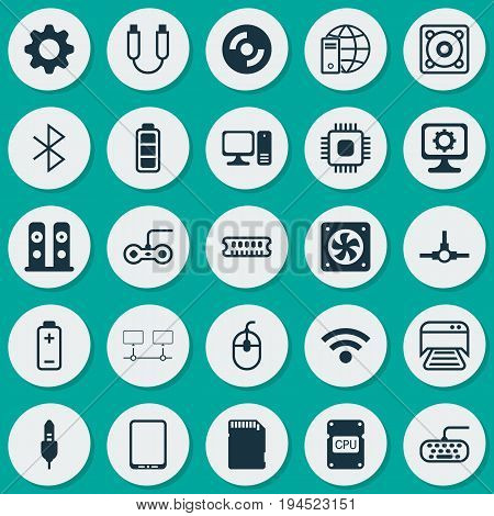 Computer Icons Set. Collection Of Wireless Connection, Joystick, Cpu And Other Elements. Also Includes Symbols Such As Network, Cd-Rom, Console.