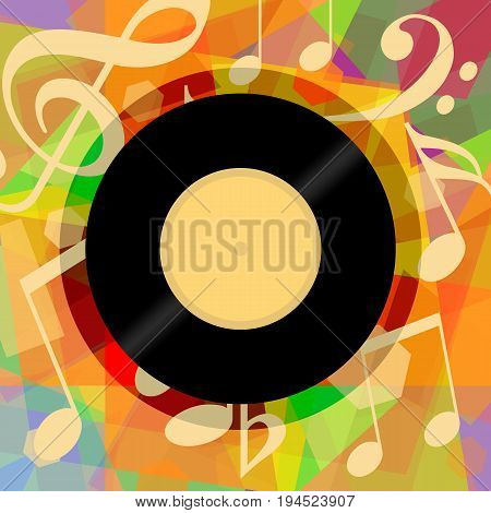 Musical background with vinyl record and music notes