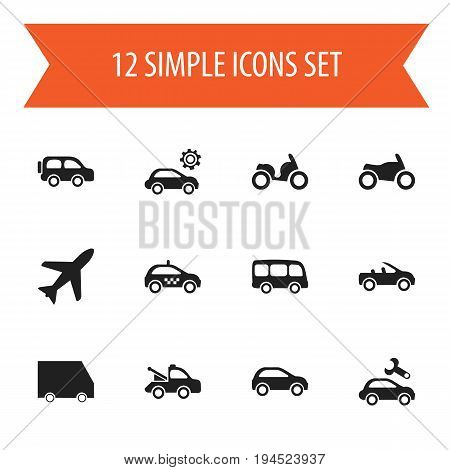 Set Of 12 Editable Transportation Icons. Includes Symbols Such As Motorbike, Moped, Tour Bus And More. Can Be Used For Web, Mobile, UI And Infographic Design.