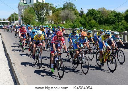 BILA TSERKVA UKRAINE - MAY 18: The racers are on Bila Tserkva stage of International road race Tour of Ukraine 2017 on May 18 2017 in Bila Tserkva Ukraine.