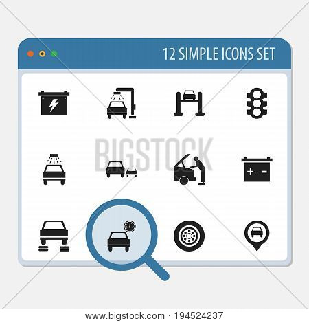 Set Of 12 Editable Vehicle Icons. Includes Symbols Such As Race, Pinpoint, Vehicle Wash And More. Can Be Used For Web, Mobile, UI And Infographic Design.