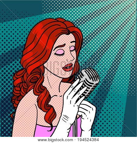 Jazz singer pop art. Performer of soul and blues in comic style. Vector illustration. EPS 10