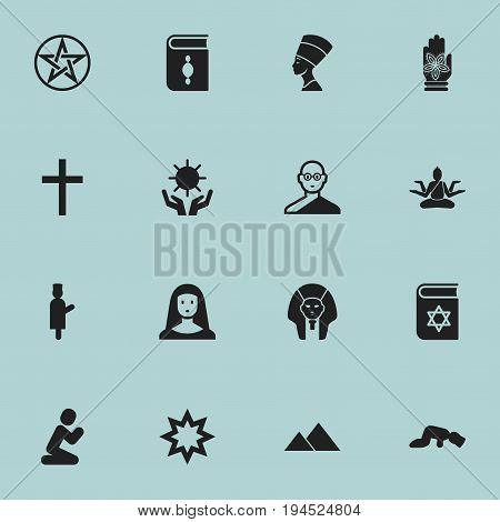 Set Of 16 Editable Religion Icons. Includes Symbols Such As Friar, Solar, Sarcophagus And More. Can Be Used For Web, Mobile, UI And Infographic Design.