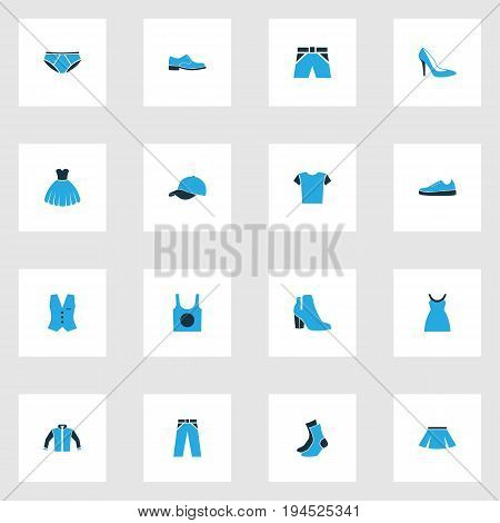 Dress Colorful Icons Set. Collection Of Female Boots, Dress, Vest And Other Elements. Also Includes Symbols Such As Tunic, Cap, Feminine.