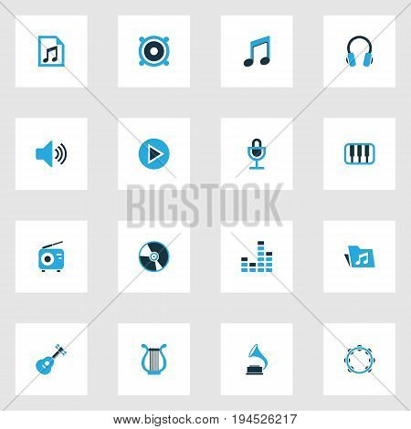 Audio Colorful Icons Set. Collection Of Tambourine, Folder, Gramophone And Other Elements. Also Includes Symbols Such As Octave, Volume, Tambourine.
