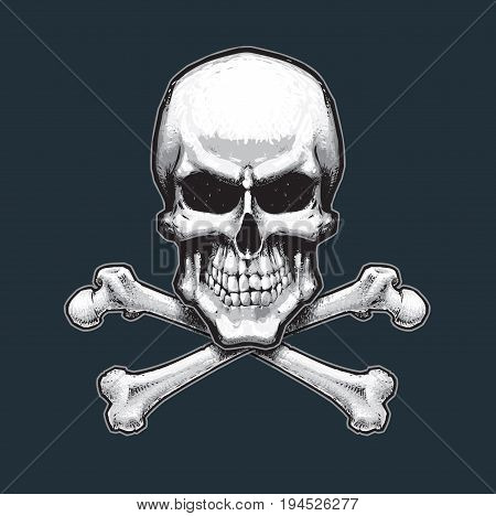 Vector illustration of the pirate flag sign skull and crossbones. Skull bones drop shadow and Background neatly on separate well defined layers and groups.