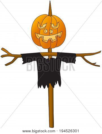 Halloween. Pumpkin on a pole. Scarecrow kitchen garden. Cartoon image. White background. Vector illustration