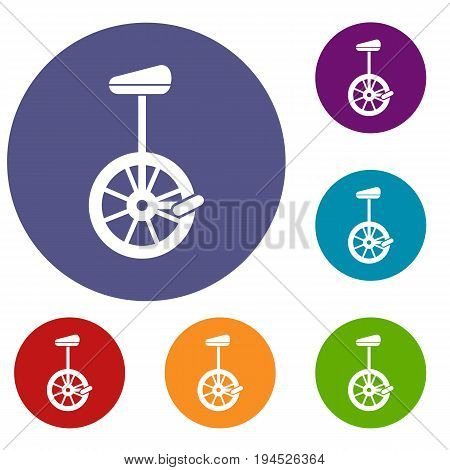 Unicycle icons set in flat circle reb, blue and green color for web