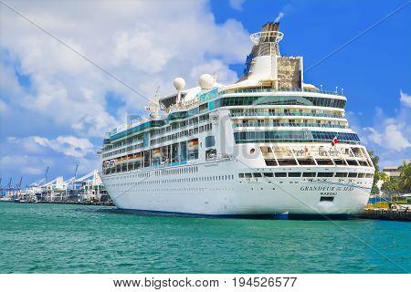 MIAMI, USA - APRIL 12, 2017: Royal Caribbean cruise ship Grandeur of the Seas docked at the port of Miami